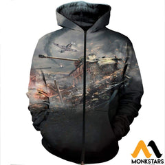 3D All Over Printed War Thunder Shirts And Shorts Zipped Hoodie / Xs Clothes
