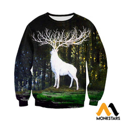 3D All Over Printed White Deer Shirts And Shorts Long-Sleeved Shirt / Xs Clothes