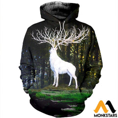 3D All Over Printed White Deer Shirts And Shorts Normal Hoodie / Xs Clothes