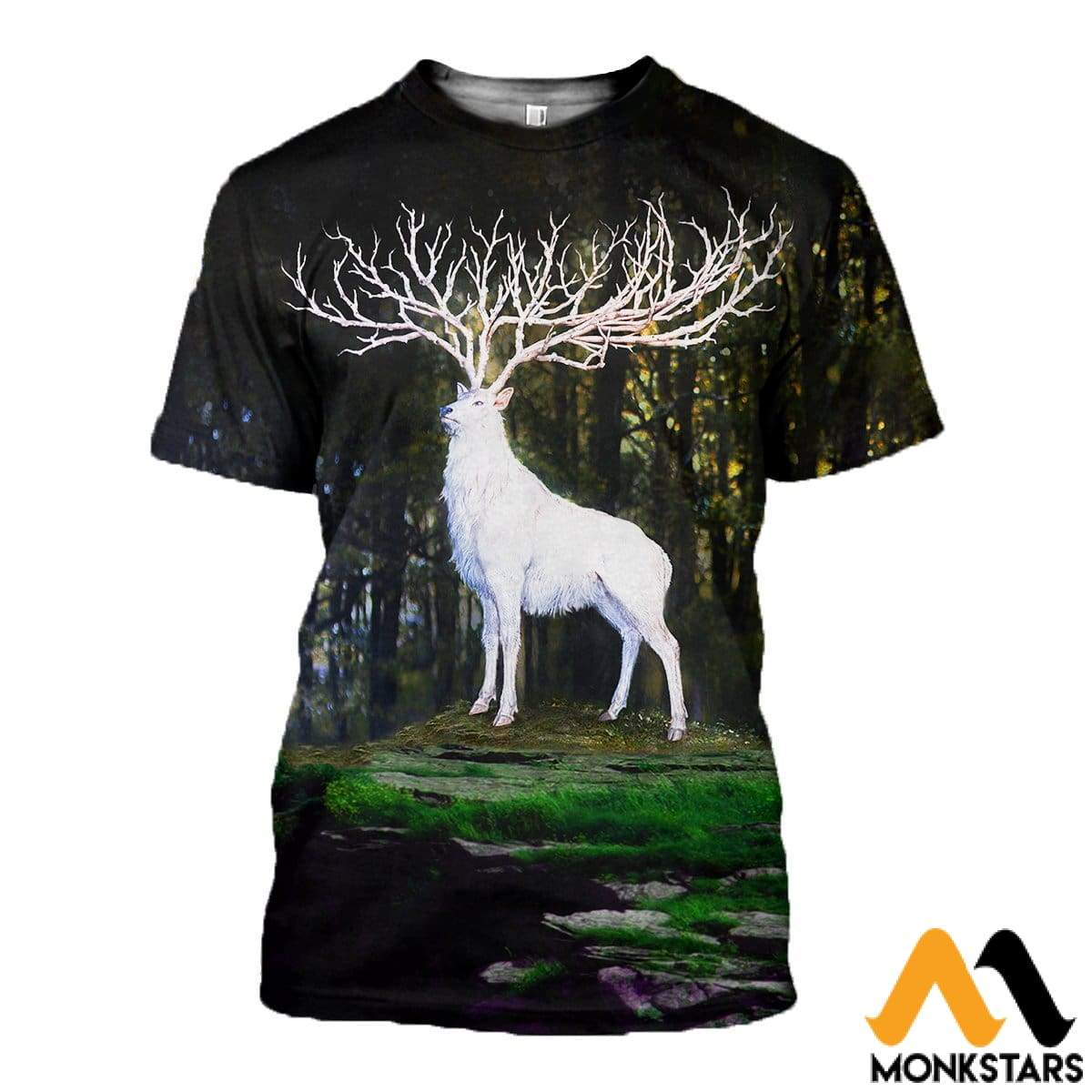 3D All Over Printed White Deer Shirts And Shorts T-Shirt / Xs Clothes