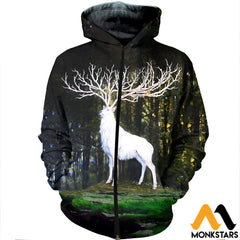 3D All Over Printed White Deer Shirts And Shorts Zipped Hoodie / Xs Clothes