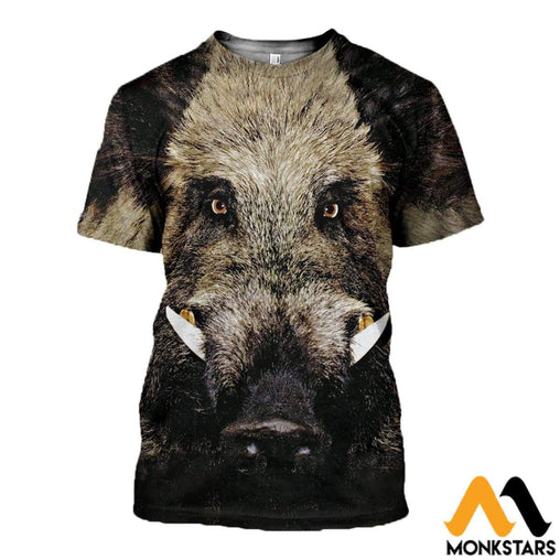 3D All Over Printed Wild Boar Clothes T-Shirt / Xs