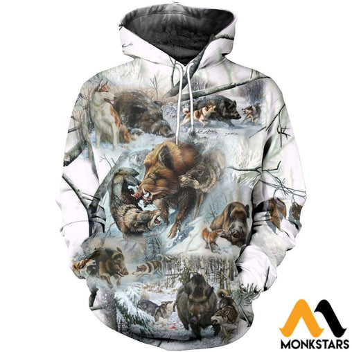 3D All Over Printed Winter Boar Hunting Art Shirts And Shorts Normal Hoodie / Xs Clothes