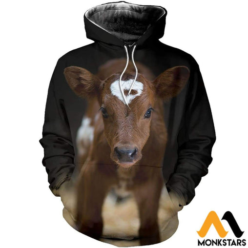 3D All Over Printed Yellow Baby Cow Shirts And Shorts Normal Hoodie / Xs Clothes
