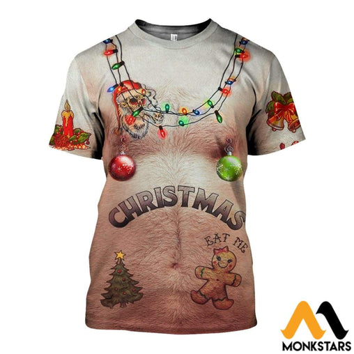 3D Hairy Chest And Tattoos Brown Ugly Christmas Shirts Ahal091004 T-Shirt / Xs