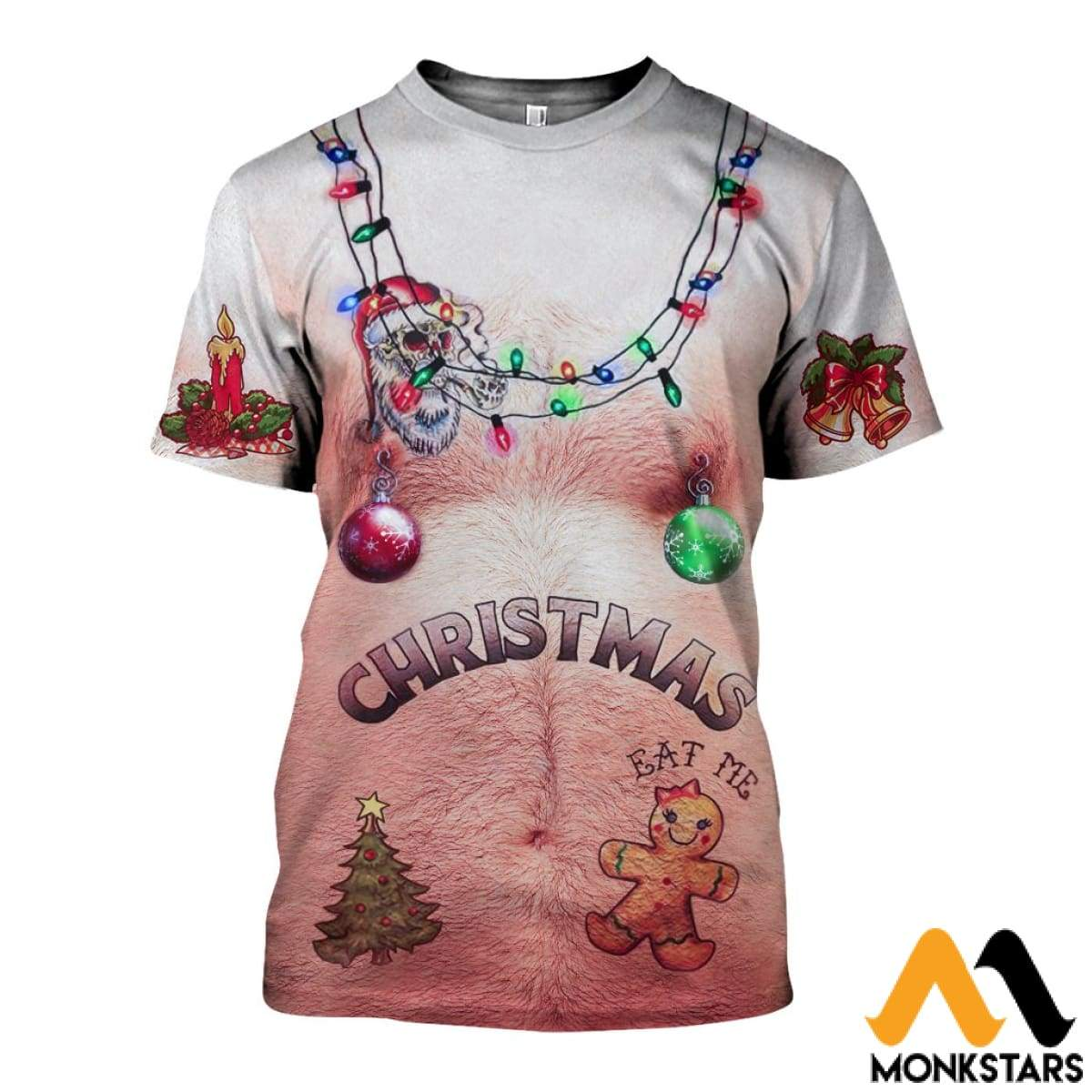 dd9b1b9210a7 3D Hairy Chest And Tattoos White Ugly Christmas Shirts T-Shirt   Xs