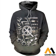 3D Printed Bicycle Parts Clothes Normal Hoodie / Xs