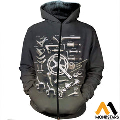 3D Printed Bicycle Parts Clothes Zipped Hoodie / Xs