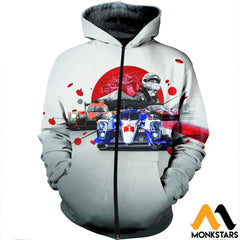 3D Printed Car Racing Clothes Zipped Hoodie / Xs
