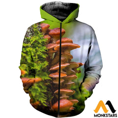 3D Printed Champignons Clothes Zipped Hoodie / Xs