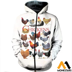 3D Printed Chickens Clothes Zipped Hoodie / Xs