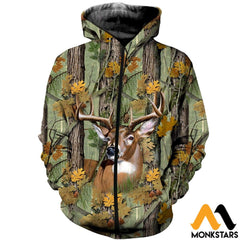 3D Printed Deer Camo Clothes Zipped Hoodie / Xs