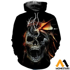 3D Printed Dragon And Skull Clothes Normal Hoodie / Xs
