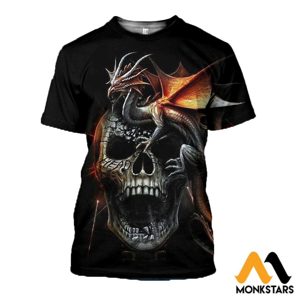 3D Printed Dragon And Skull Clothes T-Shirt / Xs
