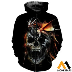 3D Printed Dragon And Skull Clothes Zipped Hoodie / Xs