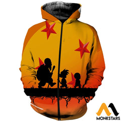 3D Printed Dragon Ball Clothes Zipped Hoodie / Xs