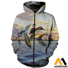 3D Printed Ducks Clothes Zipped Hoodie / Xs
