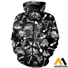3D Printed Farm Skull Clothes Zipped Hoodie / Xs