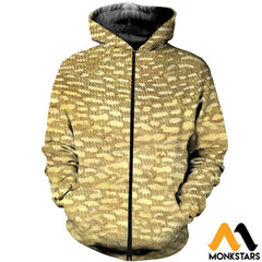 3D Printed Fish Skin Clothes Zipped Hoodie / Xs