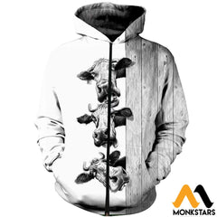 3D Printed Funny Cows Clothes Zipped Hoodie / Xs