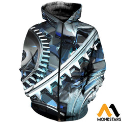 3D Printed Gear Clothes Zipped Hoodie / Xs