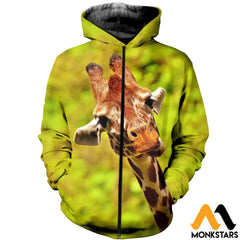 3D Printed Giraffe Clothes Zipped Hoodie / Xs