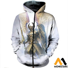 3D Printed God Of Light Clothes Zipped Hoodie / Xs