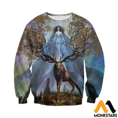 3D Printed Godness Deer Clothes Long-Sleeved Shirt / Xs