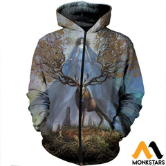 3D Printed Godness Deer Clothes Zipped Hoodie / Xs