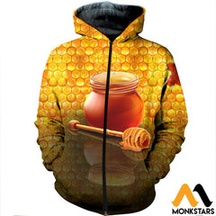 3D Printed Honey Clothes Zipped Hoodie / Xs