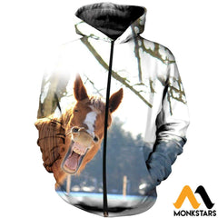 3D Printed Horse Clothes Zipped Hoodie / Xs