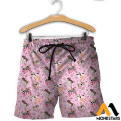 3D Printed Horse Racing Floral Clothes Shorts / Xs