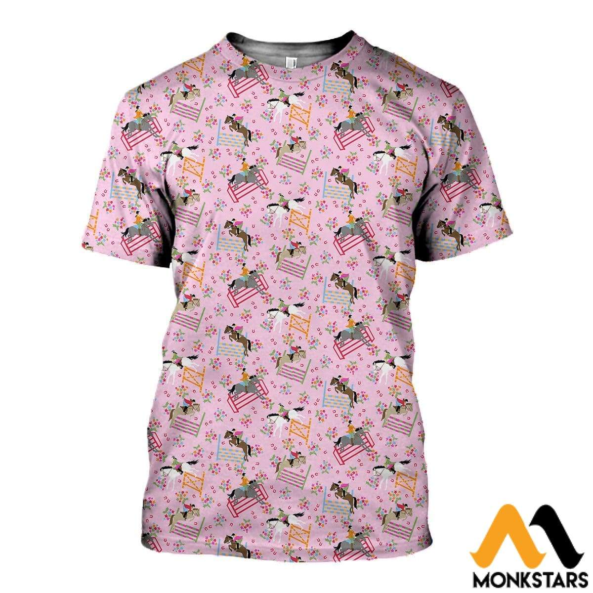 3D Printed Horse Racing Floral Clothes T-Shirt / Xs
