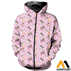 3D Printed Horse Racing Floral Clothes Zipped Hoodie / Xs