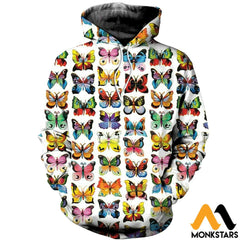 3D Printed Love Colorful Butterflies Clothes Normal Hoodie / Xs