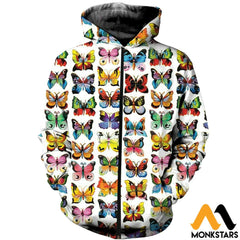 3D Printed Love Colorful Butterflies Clothes Zipped Hoodie / Xs