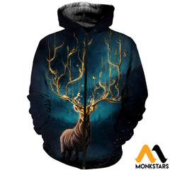 3D Printed Mystery Deer Clothes Zipped Hoodie / Xs