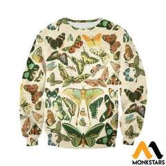 3D Printed Vintage Butterflies Clothes Long-Sleeved Shirt / Xs