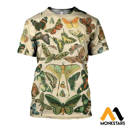 3D Printed Vintage Butterflies Clothes T-Shirt / Xs