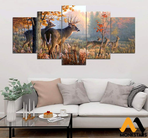 5-Piece Deer Printed Canvas Wall Art Wall Art