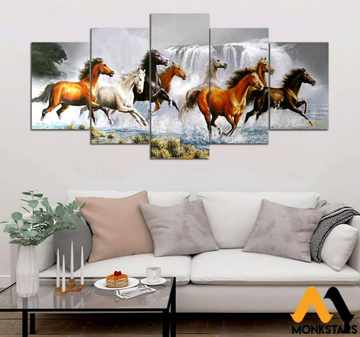 5-Piece Eight Horses Chase The Wind Printed Canvas Wall Art Wall Art