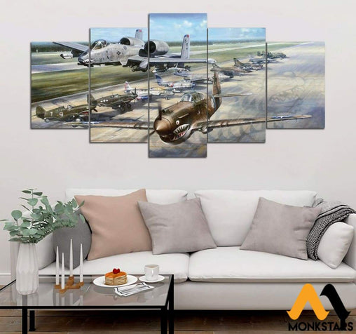 5-Piece Flying Tiger Printed Canvas Wall Art Wall Art