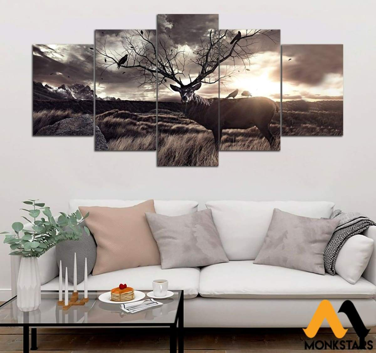 5-Piece Hunter And Sunset Printed Canvas Wall Art Sntk030502 Painting & Calligraphy