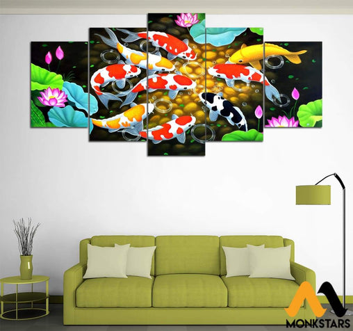 5-Piece Koi And Lotus Flower Printed Canvas Wall Art Painting & Calligraphy
