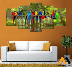 5-Piece Macaw Printed Canvas Wall Art Wall Art