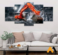 5-Piece Nice Excavator Printed Canvas Wall Art Wall Art
