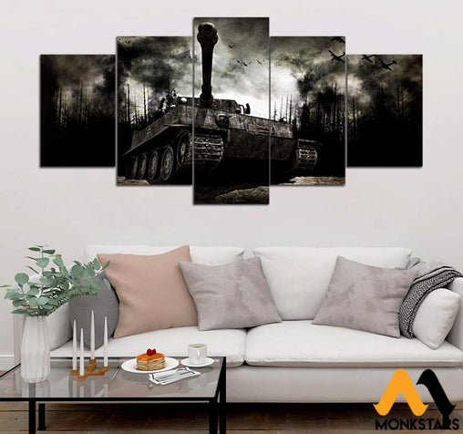 5-Piece Tiger Tank Printed Canvas Wall Art Painting & Calligraphy