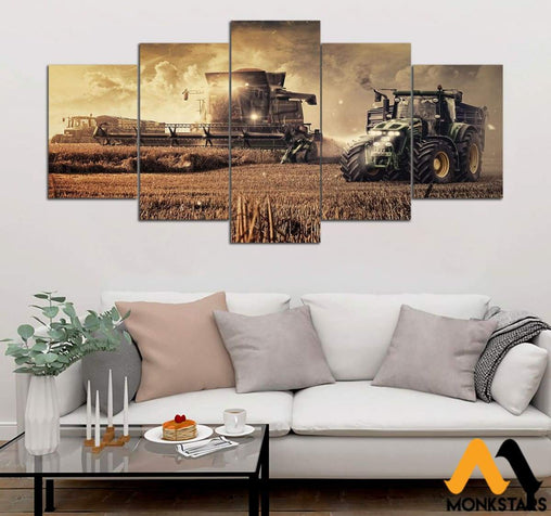 5-Piece Tractor In Farm Printed Canvas Wall Art Wall Art