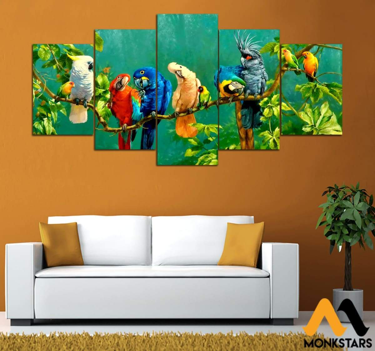 5-Pieces Parrot Printed Canvas Wall Art Wall Art