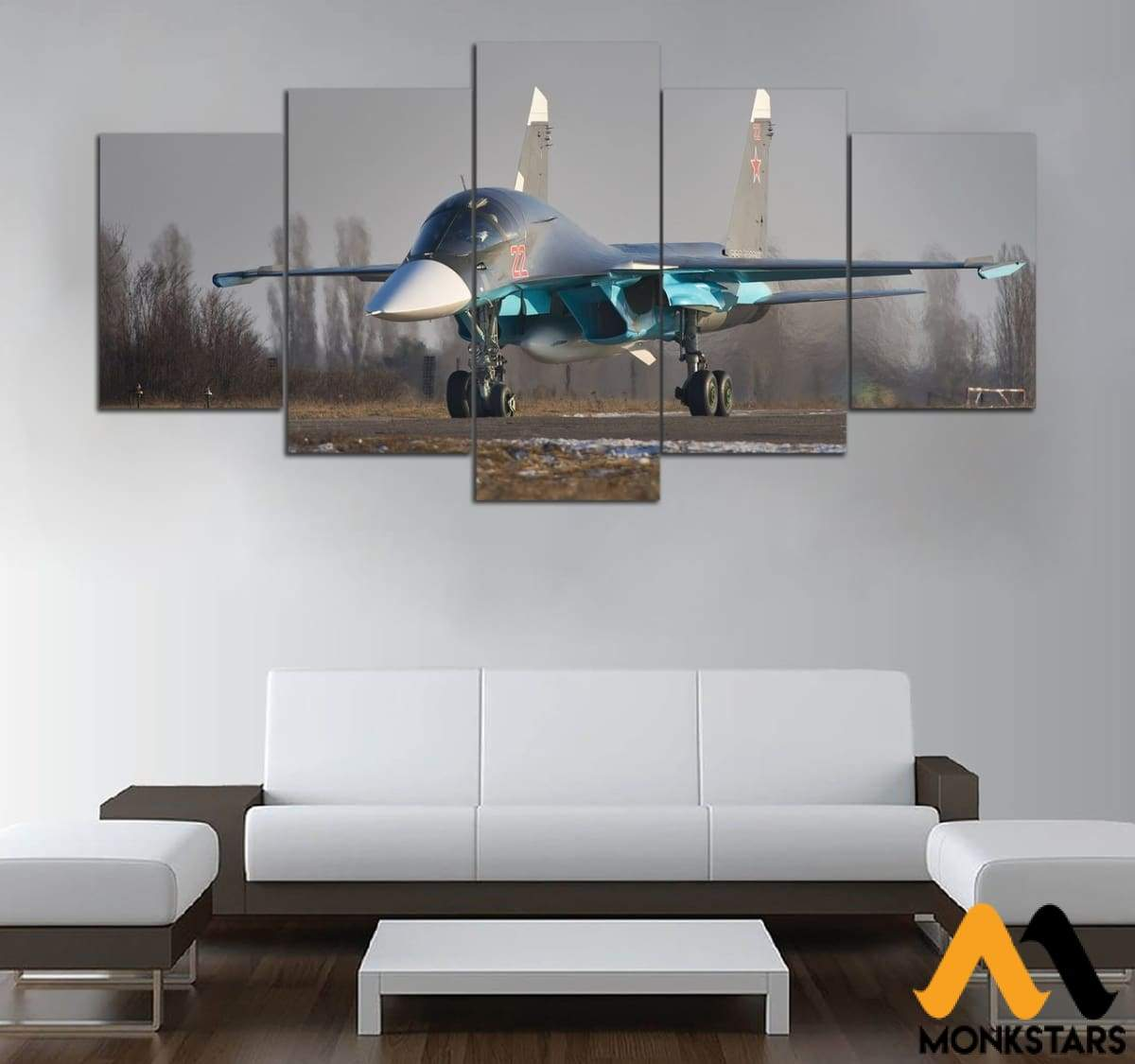 5-Pieces Sukhoi Su-34 Printed Canvas Wall Art Painting & Calligraphy